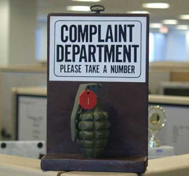 Complaint department pic from Real-life signs and labels